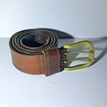 Women's Vintage 1990s Plain Genuine Leather Belt Double Buckle Large - $24.72