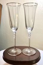 Vintage Pair Mikasa Crystal Sonata Fluted Gold Trim Champagne Flute Glas... - $24.50