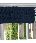 Chiffon NAVY BLUE Ruffle Layered Window Valance any Size - $29.99+