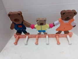 Handmade Bear Rack Painted Pegs/knobs Hanging Sturdy Wood Momma Papa Bab... - $19.80