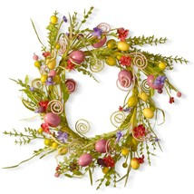 Easter Door Wreath 24 IN Spring Accent Wall Colored Pastel Eggs Greenery - $49.45