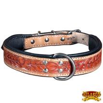 Hilason Heavy Duty Genuine Leather Dog Collar Floral Carving Tan U-C104 - $27.99