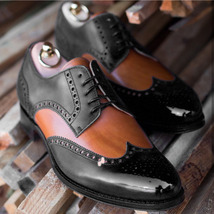 Handmade Men's Black & Brown Tan Wing Tip Brogues Oxford Leather Shoes image 4