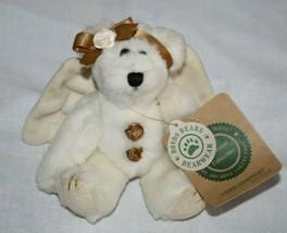 """Boyds Bears Cassie Good Night Teddy Bear 6"""" Ivory Angel Wing Plush Soft Tag - $14.47"""