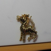 Vintage JJ Signed Gold Tone Zebra Brooch With Rhinestones  - $33.66