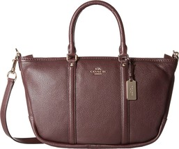 NWT COACH PEBBLED LEATHER CENTRAL SATCHEL OXBLOOD - $191.57