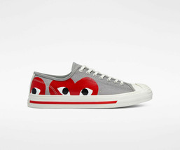 NIB*Converse X Comme de Garcons*Mens*Grey Red Low Top**5-12*Sneaker*Unisex - $200.00