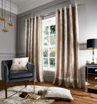 """CRUSHED VELVET CREAM LINED 90"""" X 90"""" RING TOP CURTAINS & 2 X 22"""" FILLED ... - $119.01"""