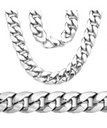 Men's Sterling Silver 14k White Gold Cuban Curb Link Lobster Lock Chain ... - $146.40+