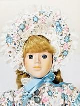 """Vintage Porcelain Doll with Blue Eyes Pink White Rose Dress Bonnet 15 1/2"""" - $39.59"""