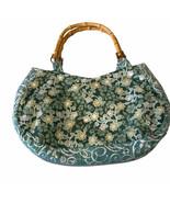 Vintage Retro Purse Bamboo-Wood Handles Green Floral Fabric Print  - $17.56