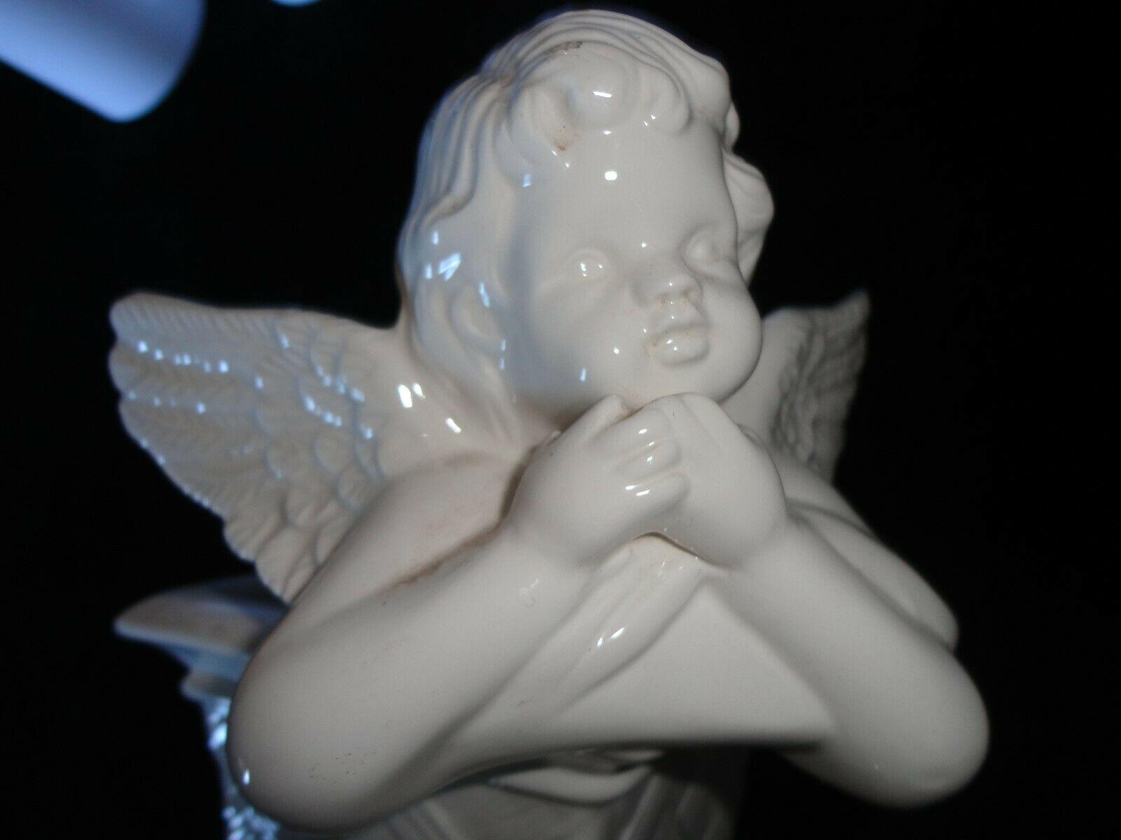 ANGEL PLANT HOLDER WHITE CERAMIC CRAFT DECORATIVE COLLECTIBLE
