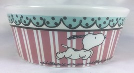 "NWT Snoopy Peanuts Pink Stripes Round Ceramic Water Food Dog Bowl 5"" - $22.43"
