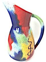 Pfaltzgraff Sedona Hand Painted Ceramic Carafe Pitcher Vase Red Blue Yellow - $45.79