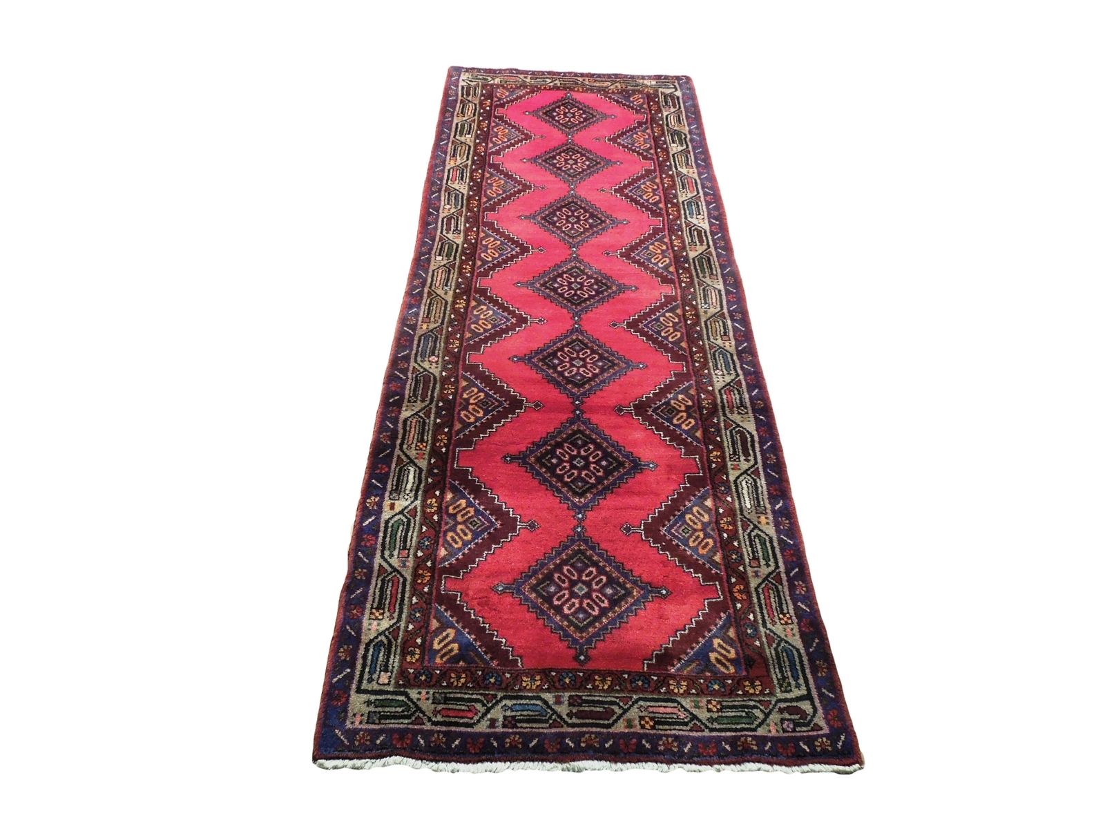 Pink Hamadan Persian Wool Handmade Rug 3x9 All-Over Geometric Rug