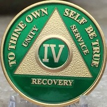 4 Year AA Medallion Green Gold Plated Alcoholics Anonymous Sobriety Chip... - $20.39