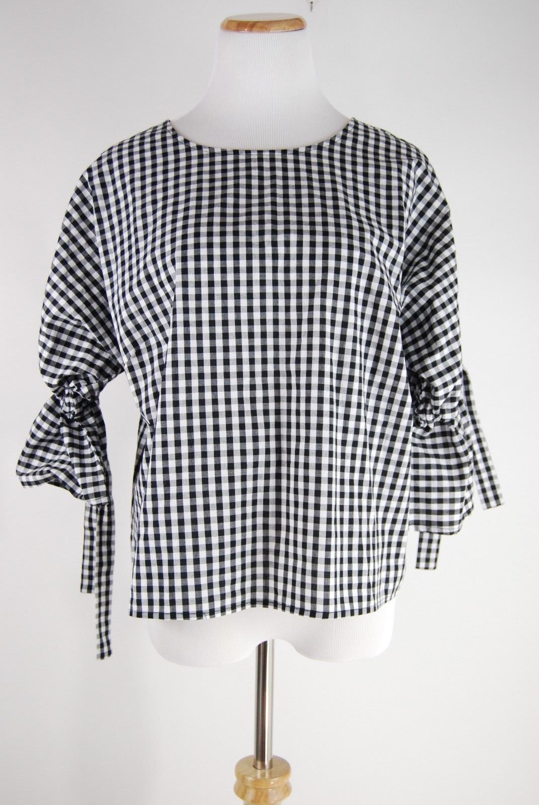 Primary image for NWT Anthropologie Gingham Tie-Sleeve Blouse - Sunday in Brooklyn - Size L