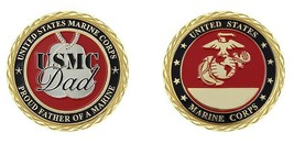 "PROUD FATHER OF A MARINE MARINE CORPS 1.75"" GOLD EGA CHALLENGE COIN USMC... - $16.24"