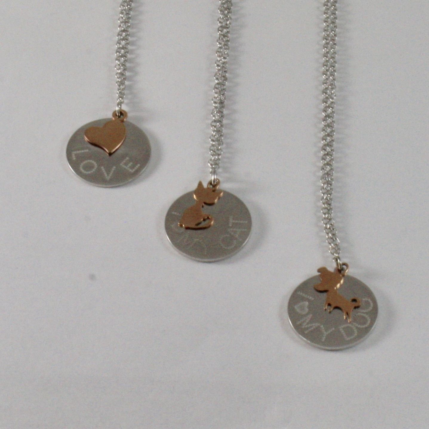 925 STERLING SILVER NECKLACE JACK&CO WITH HEART DOG 0,5 CAT GOLD PINK 9KT 60 CM
