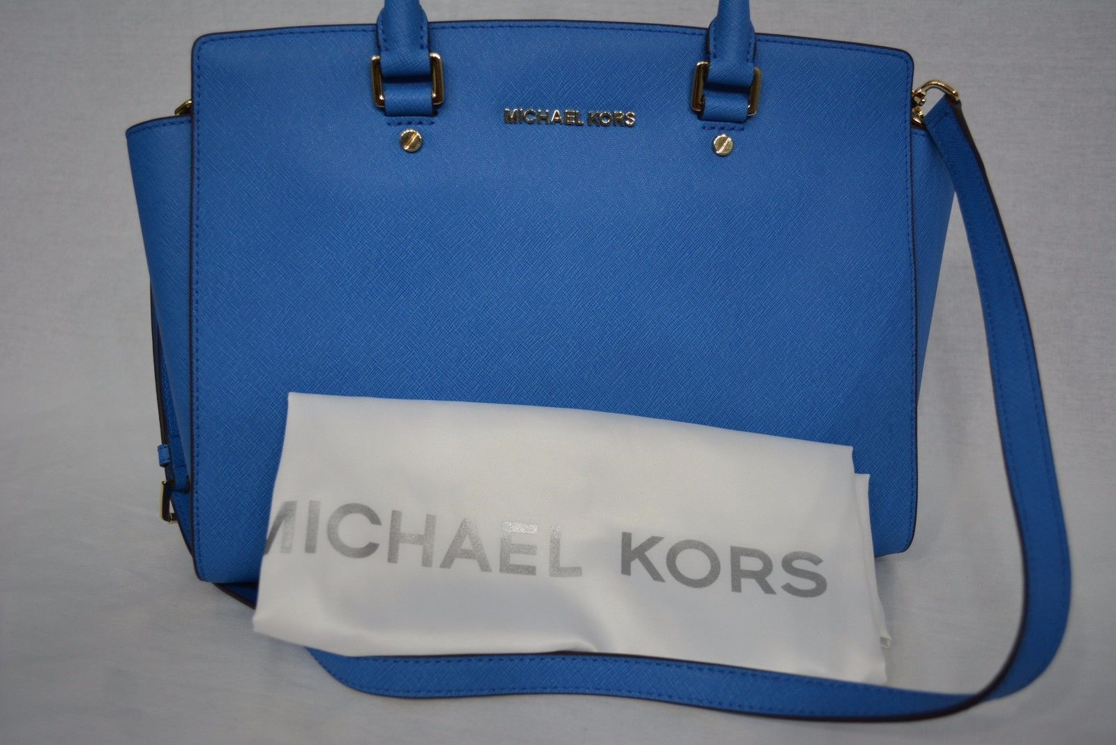 a5f34594eb3976 NWT MICHAEL Michael Kors Large EW Selma Satchel Saffiano Leather - Heritage  Blue