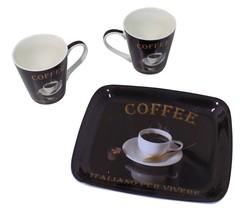 COFFEE ITALIANO CAFE BLACK BEIGE SET OF TWO CERAMIC MUGS AND MELAMINE TRAY - $25.96