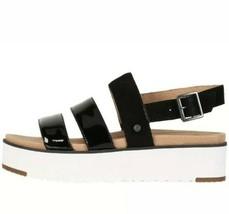 Women's Ugg Braelynn Black Leather Platform Sandals Sz Us 7.5 /EUR 38.5 - $59.39