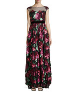 Badgley Mischka Women's Sequined Floral Gown W/ Mesh Yoke, Berry,size 2 ... - $284.22