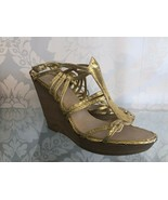 CHANEL Metallic Gold Strappy Leather Sandal Heels Sz 39/US 9 $2400 - $553.31