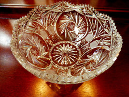 VTG Gorgeous American Brilliant Clear crystal bowl Pinwheel pattern 8.5 x 5 - $138.60