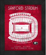 "Georgia Bulldogs Sanford ""Retro"" Stadium Seating Chart 13x16 Framed Print  - $39.95"
