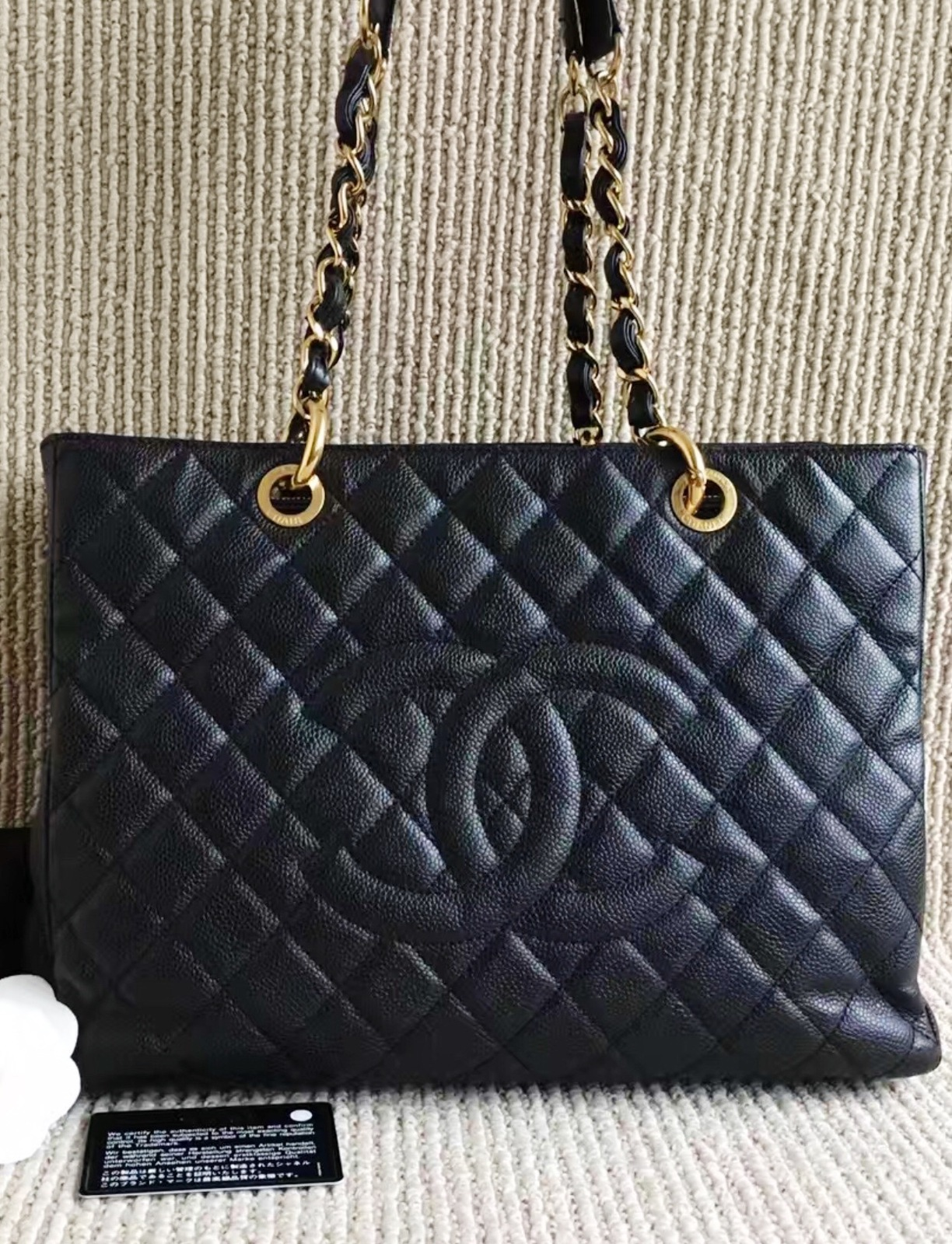 100% AUTHENTIC CHANEL CAVIAR GST GRAND SHOPPING TOTE BAG BLACK GHW