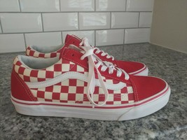Vans Old Skool Chex Skate Shoe RED White Checkerboard Primary WOMEN 11 M... - $79.20