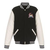 MLB Miami Marlins Reversible Fleece Jacket PVC Sleeves  2 Front Logos Black - $109.99