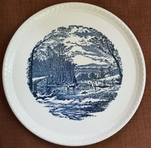 "10.5"" Royal China Currier and Ives ""Getting Ice"" Cake Plate Mint - $12.01"