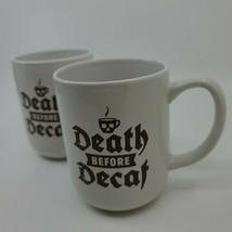 Death Before Decaf Set of 2 (pair) Coffee Mug | Royal Norfolk | Death Skull Mug - $15.99