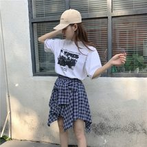 Asymmetrical Plaid Skirt Woman 2018 Spring New Fashion Casual Skirts Womens Loli image 3
