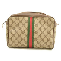 GUCCI GG PVC Leather Sherry Line Clutch Bag Red Green Auth mk009 - $210.00