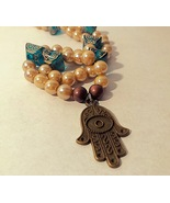 Teal and Gold Hamsa Necklace  - $5.60