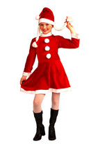 LITTLE MISS SANTA'S HELPER GIRL'S MEDIUM SIZE SANTA'S HELPER CHRISTMAS C... - $18.39