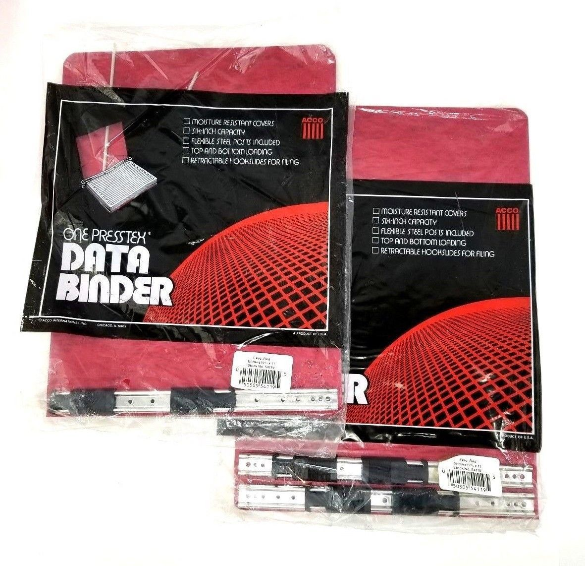 "Acco Prestex Data Binder Executive Red Unburst 9 1/2"" x 11"" Data Binders (2) New"