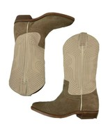 NEW display FRYE Women Billy Stitch Pull on Western Boot Off White Tan 6.5M $348 - $139.32