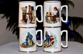 Set of 4 1985 NORMAN ROCKWELL MUSEUM INC Mugs Cups Nautical Sea Marine S... - $14.65