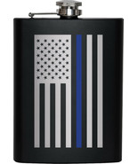 Thin Blue Line Stainless Steel USA Flag Flask Support the Police (Black) - $16.99