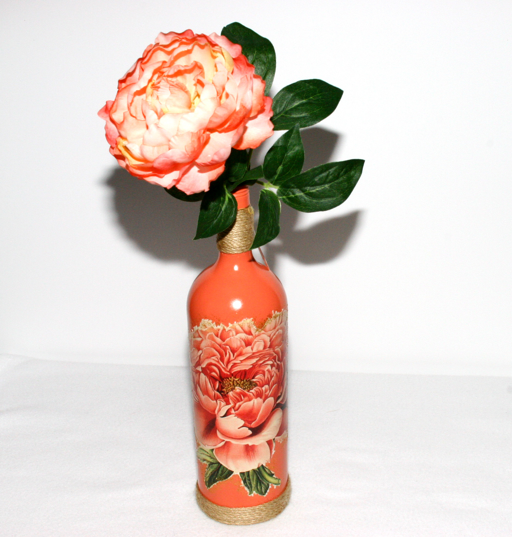 Peach floral wine bottle decorated recycled gift handmade for Wine bottles decorated with flowers