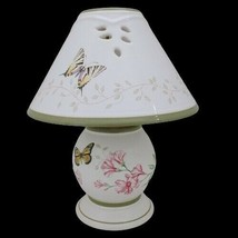 Lenox Butterfly Meadow Tea Light Lamp with Shade White Floral Bees Butte... - $38.57