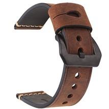 Vintage Leather Watch Band EACHE Watch Strap (22mm|dark brown black buckle) - $24.09