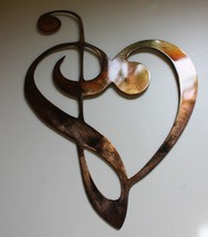 METAL WALL ART DECOR MUSIC HEART NOTES MUSICAL CLEF  Copper/Brz plated - $24.74