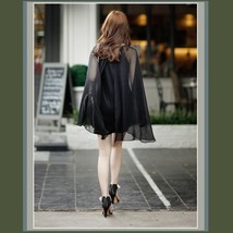 Sheer Flowing Chiffon Draped Cape on Black Sleeveless Mini Sheath Dress  image 3