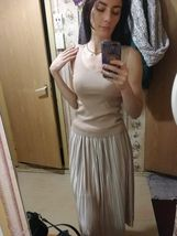 Silver Gold Pleated Skirt Vintage High Waist Long Metallic image 9