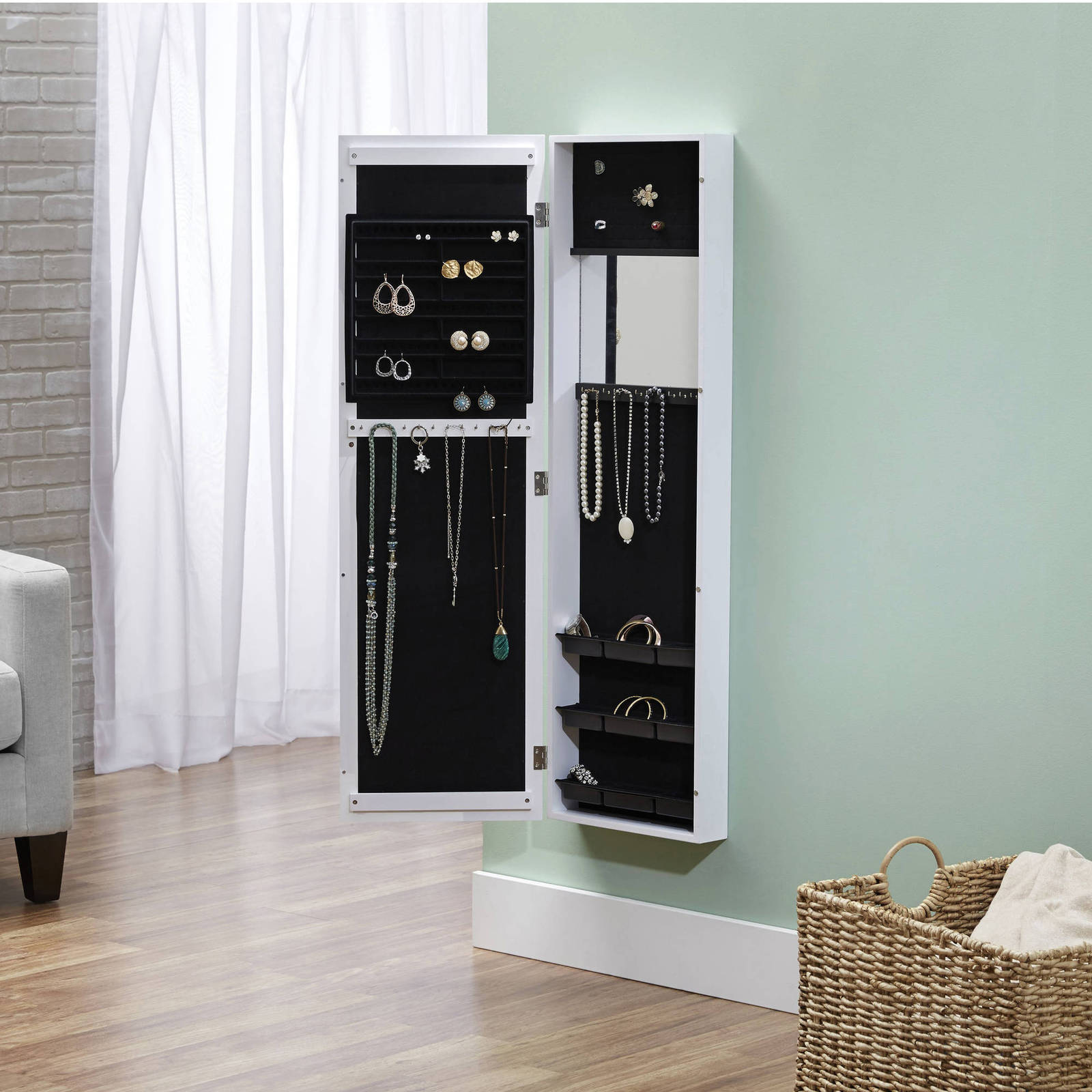 Jewelry Armoire Mirror Storage Cabinet Organizer Wall Door